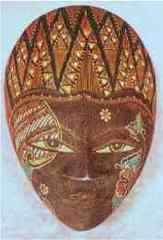 Hand Painted Wooden Masks (Brown)