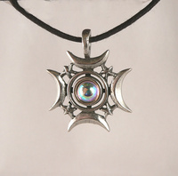 Crescents Rising Celestial Pewter Pendant