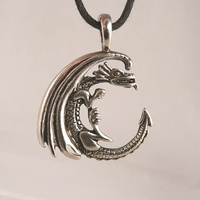Dragon Moon Celestial Pewter Pendant