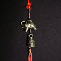 Feng Shui Brass Elephant Ornament Hanger with Bell