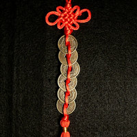 Feng Shui Chinese Red 6 Coin Ornament Hanger