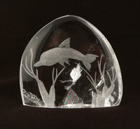 Reverse Carved Dolphin in Quartz