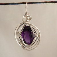 Amethyst (Faceted) Sterling Silver Wire Wrap Pendant