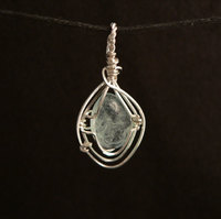 Aquamarine Sterling Silver Wire Wrap Pendant