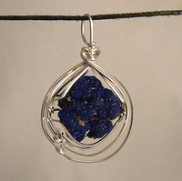 Azurite Floater Sterling Silver Wire Wrap Pendant