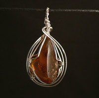 Black Amber Sterling Silver Wire Wrap Pendant