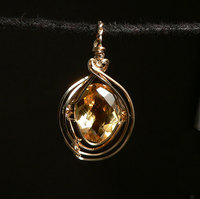 Citrine (Faceted) Gold-Filled Wire Wrap Pendant