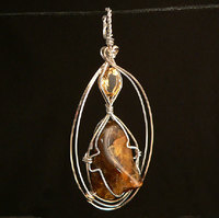 Citrine and Black Amber Sterling Silver and Gold filled Wire Wrap Pendant