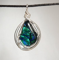 Dichroic Glass Sterling Silver Wire Wrap Pendant