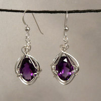 Amethyst (Faceted) Sterling Silver Wire Wrap Earrings
