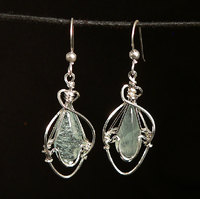 Aquamarine Sterling Silver Wire Wrap Earrings