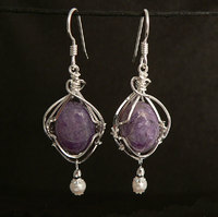 Charoite Sterling Silver Wire Wrap Earrings with Pearl Drops