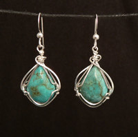 Turquoise Sterling Silver Wire Wrap Ear Rings