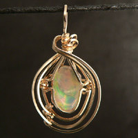 Ethiopian Opal Gold Filled Wire Wrap Pendant