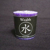 Water (Wealth) Feng Shui Palm Wax Votive Candle